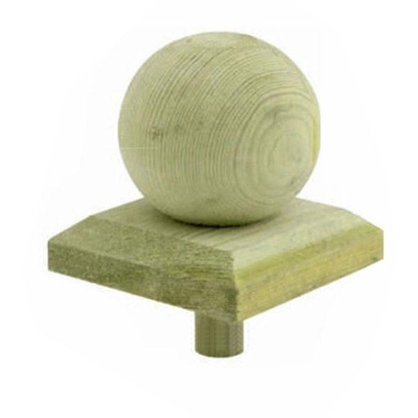 Pfostenkugel aus Holz Detail