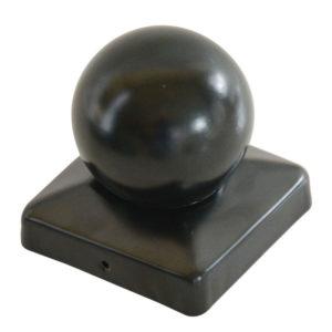 Pfostenkugel aus Stahl schwarz beschichtet im Detail