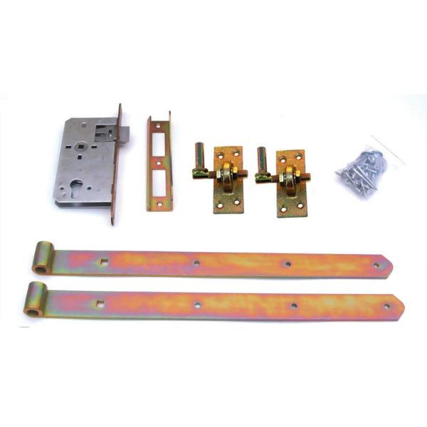 Türbeschlag-einstellbare-Stützhaken-E-Schloss-gelb-verzinkt