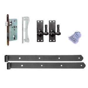 Türbeschlag-einstellbare-Stützhaken-E-Schloss-schwarz-beschichtett
