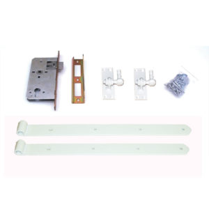 Türbeschlag-einstellbare-Stützhaken-E-Schloss-weiß-verzinkt