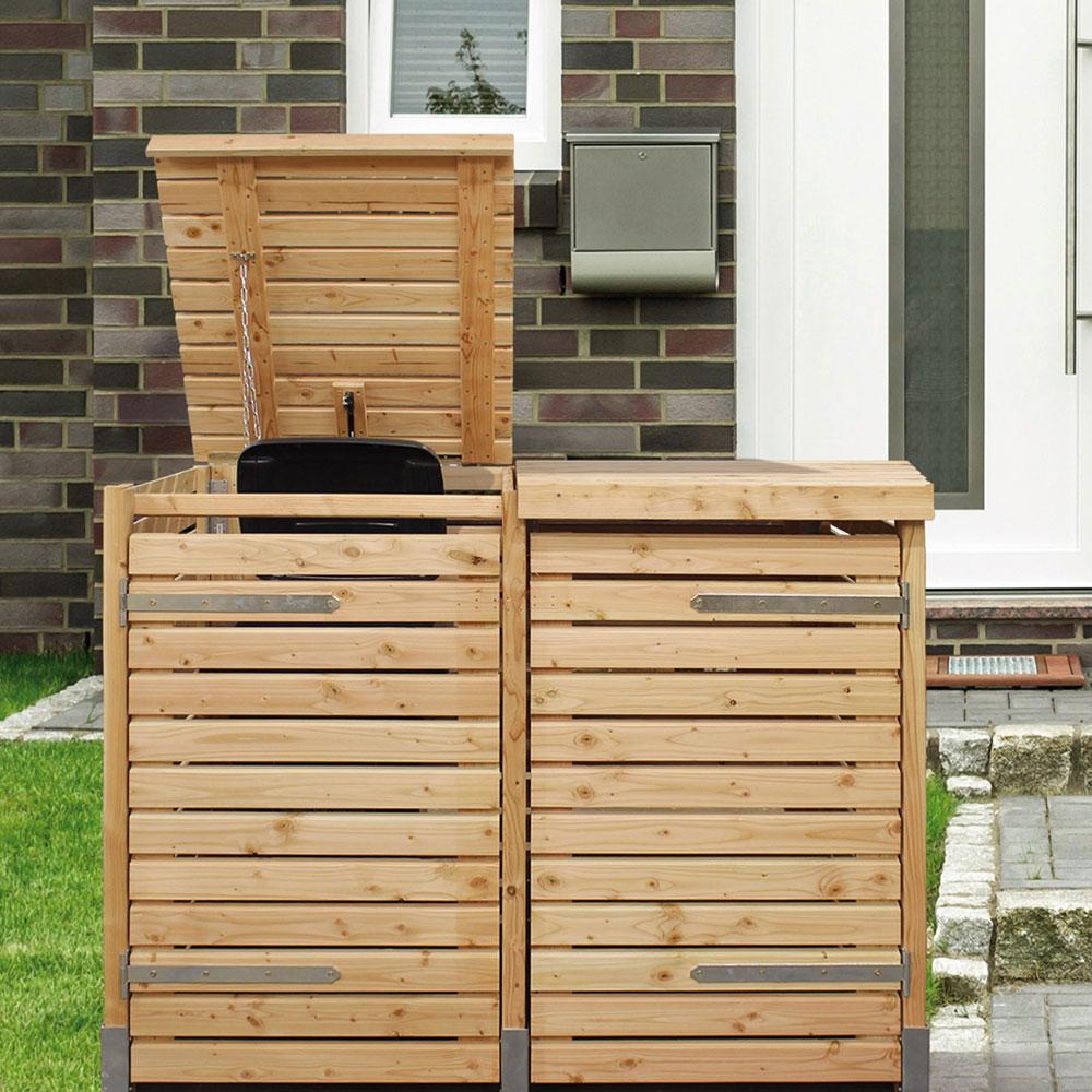 Rhombus Mullbox Aus Larchenholzprofilen Fur 2x 240 Liter Mulltonnen