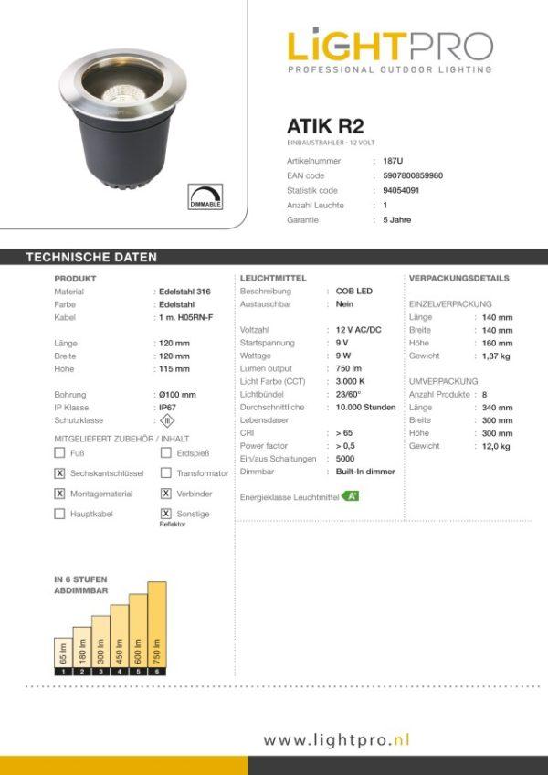 Lightpro Atik R2, LED Bodeneinbaustrahler