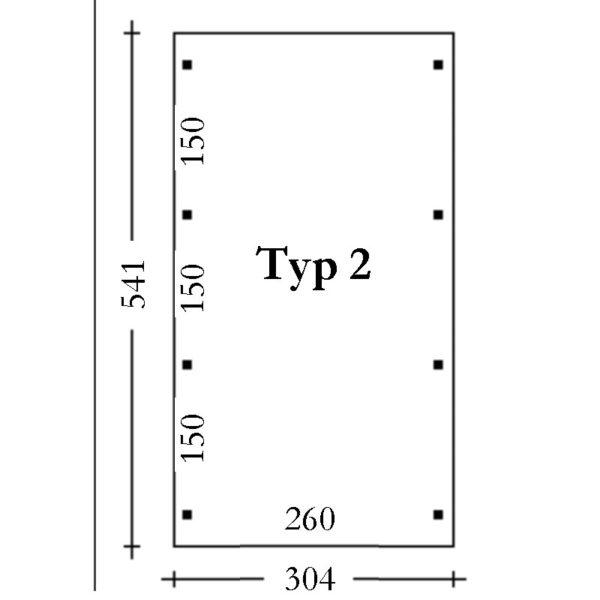 Einzelcarport-Köln-Typ-2-Pfostenplan