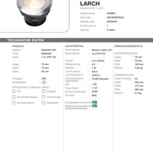 LED Bodeneinbauleuchte Larch
