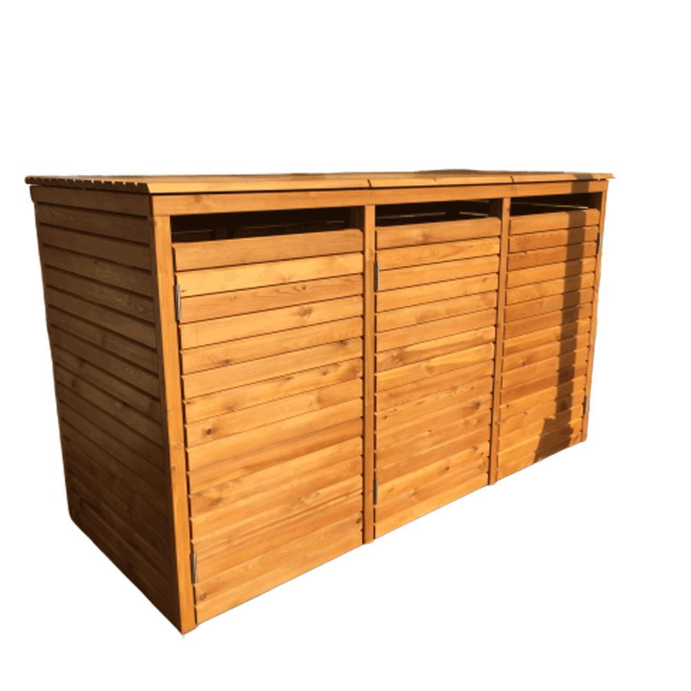 Mülltonnenbox für 3 Mülltonnen 240 Liter aus sibirischer Lärche mit Rhombusprofil 27 x 65 mm